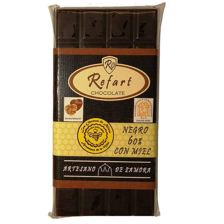 Tableta de chocolate negro 60- con miel-
