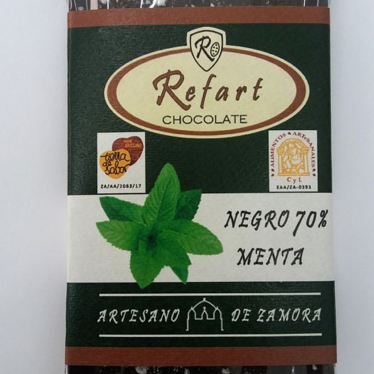Tableta de chocolate negro 70- con menta-