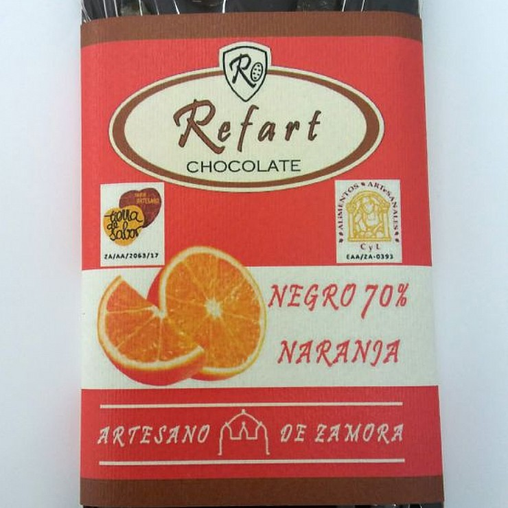 Tableta de chocolate negro 70- con naranja-